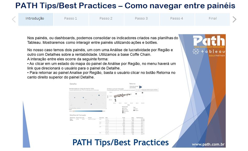 PATH Tips/Best Practices – Como navegar entre painéis