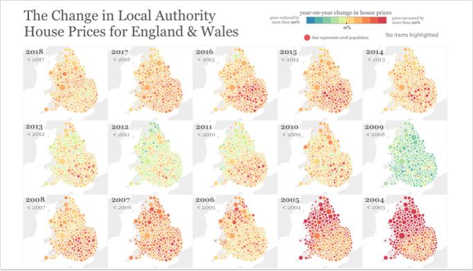 A Mudança nos preços das casas das autoridades locais para a inglaterra e o país de gales